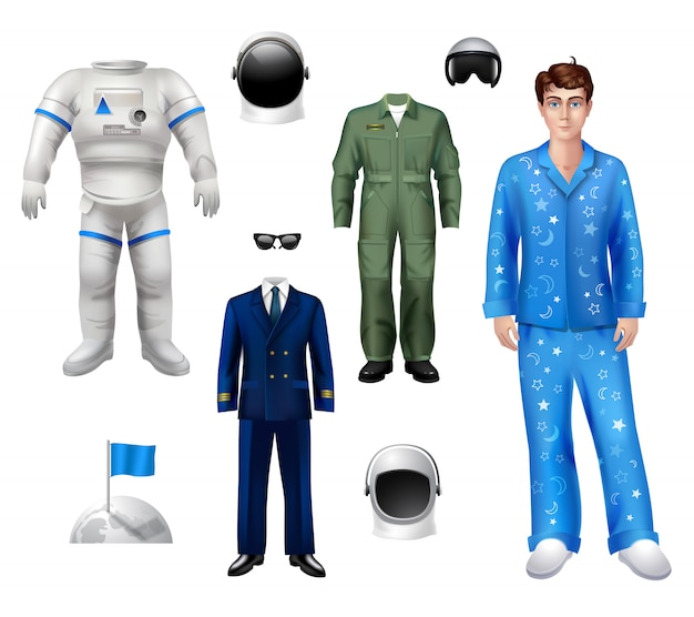 Astronaut boy character pack set Free Vector