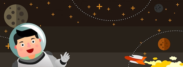 Astronaut boy in outer space Premium Vector