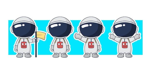 Астронавт мультипликационный персонаж набор иллюстрации. Premium векторы