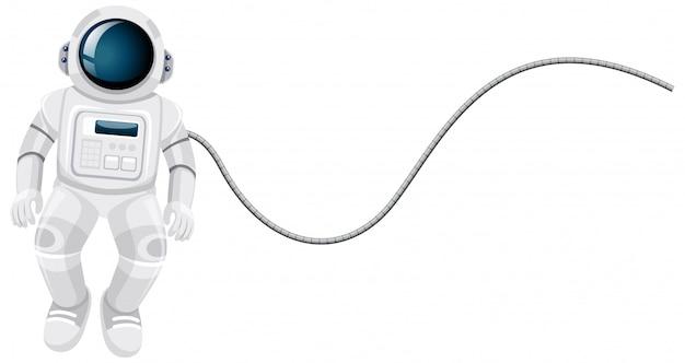 白い背景の上の宇宙飛行士の漫画 無料ベクター