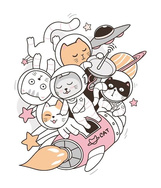 Astronaut cat doodle Premium Vector