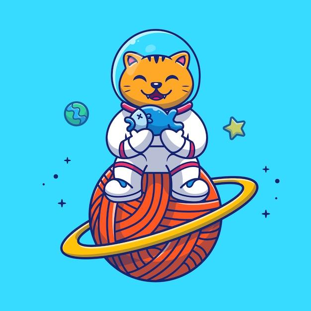 Astronaut cat holding fish illustration. mascot cartoon character. Premium Vector