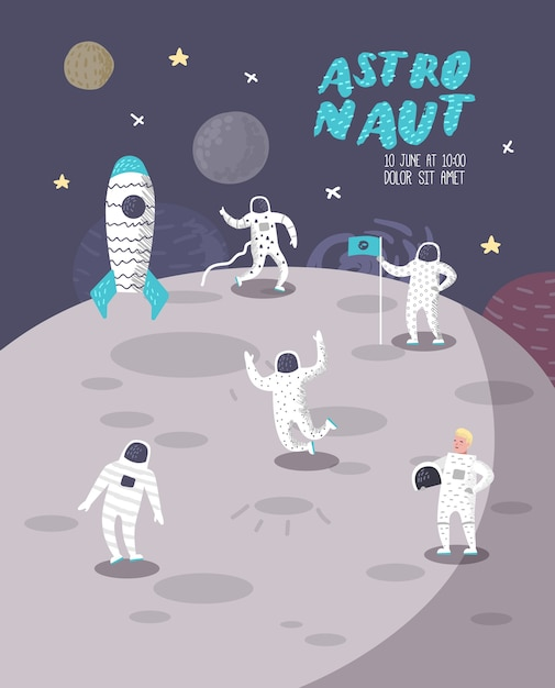 Astronaut characters poster, banner with stars and rocket. cosmonaut in space and spaceship. Premium Vector