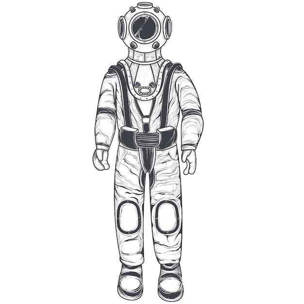 Astronaut, cosmonaut in a space suit and helmet Free Vector