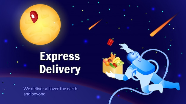 Astronaut delivers food global shipping service. Premium Vector