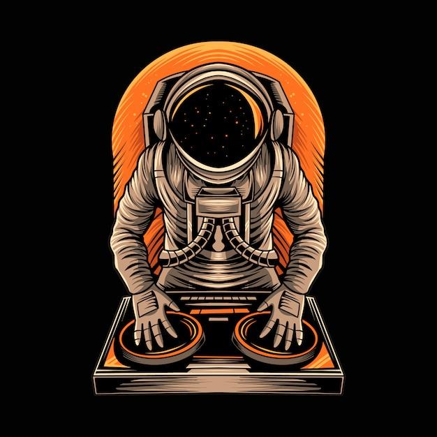 Астронавт диск-жокей музыкальная иллюстрация Premium векторы