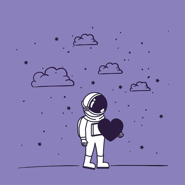 Astronaut draw with heart Free Vector