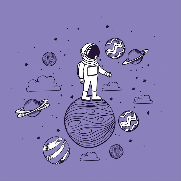 Astronaut draw with planets Free Vector