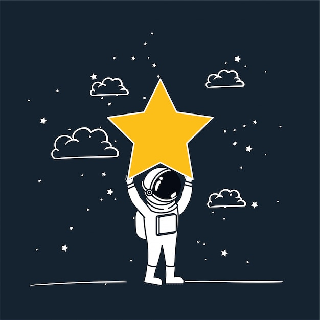 Astronaut draw with yellow star Free Vector