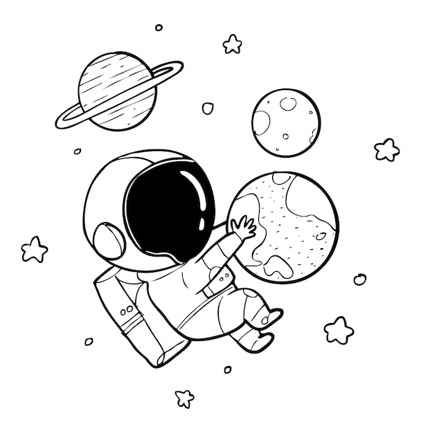Astronaut Earth Drawing Vector