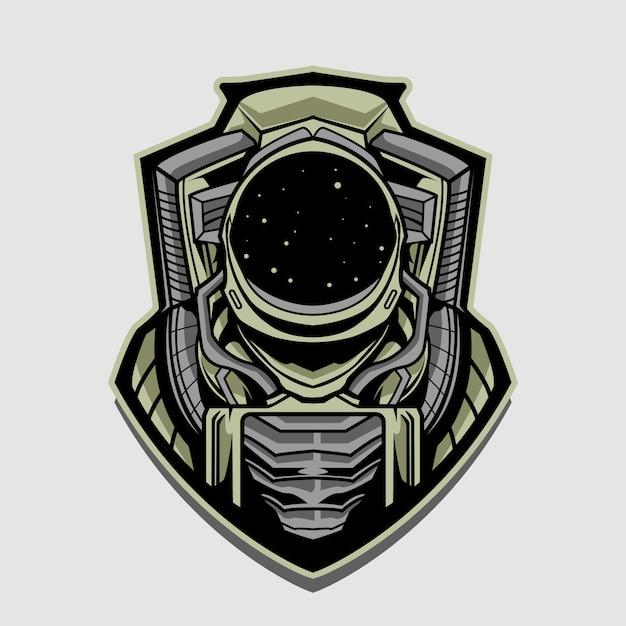 分離された宇宙飛行士エンブレムデザインイラスト Premiumベクター