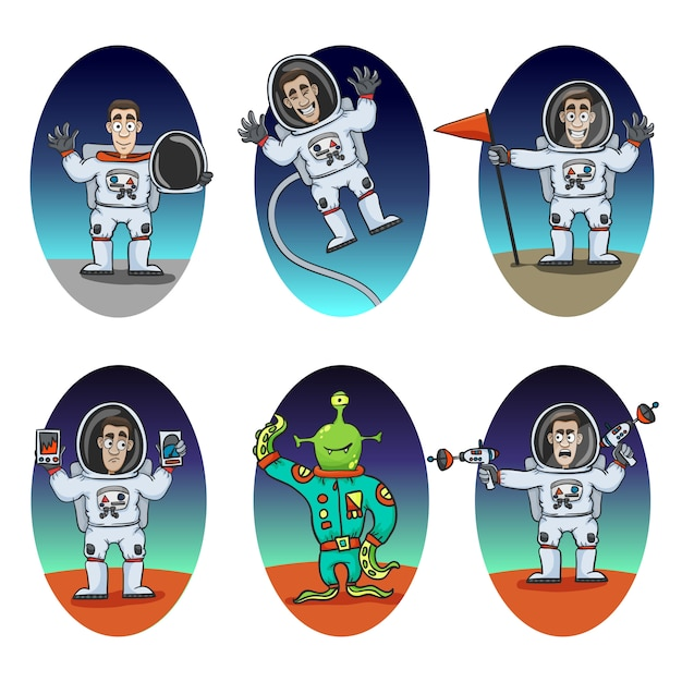 Astronaut emotions set Premium Vector