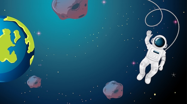 Astronaut floating in space Free Vector