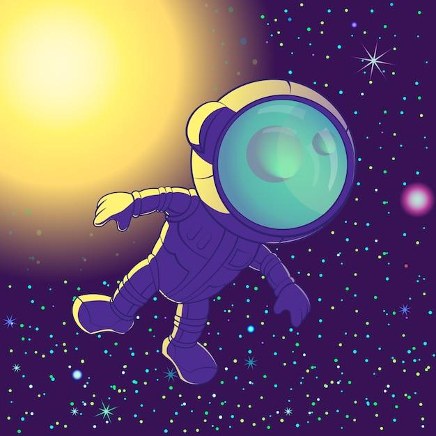 Astronaut Floating In Space Premium Vector
