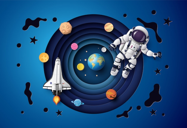 Astronaut Floating In The Stratosphere Paper Art And Craft Style