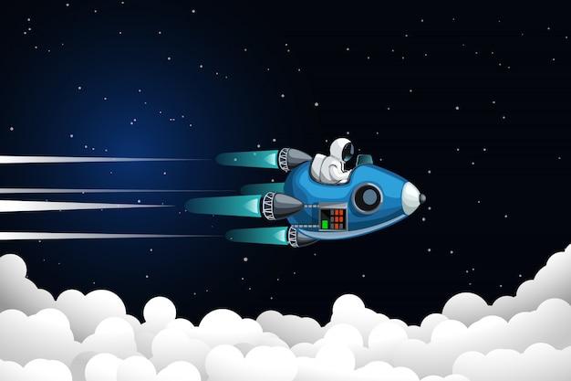 Astronaut flying above clouds Premium Vector