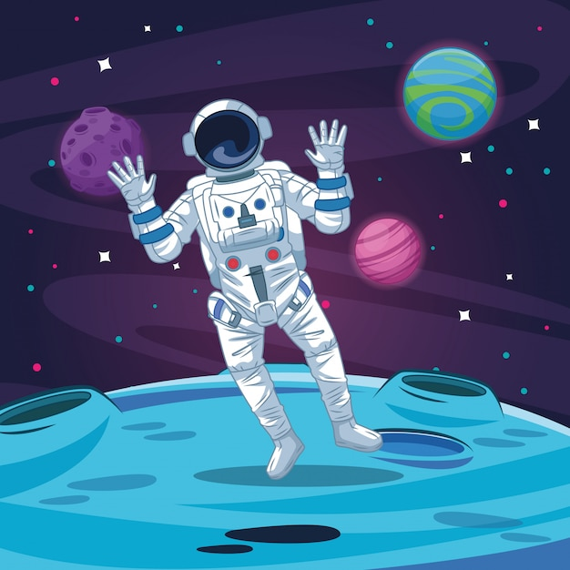 Astronaut in the galaxy cartoon Premium Vector