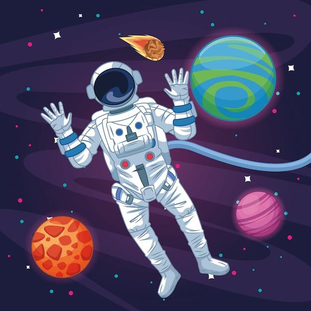 Astronaut in the galaxy cartoon Premium Vector