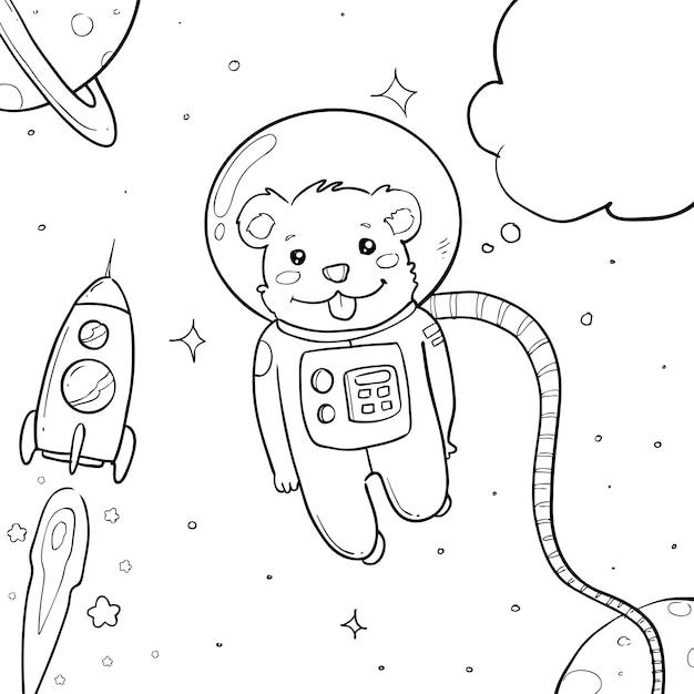 Astronaut hand drawn Premium Vector