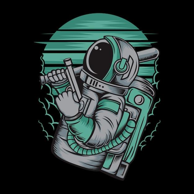 Astronaut handling gun illustration Premium Vector