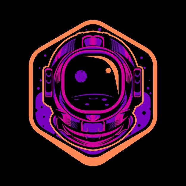 宇宙飛行士のヘルメットイラストエンブレム Premiumベクター