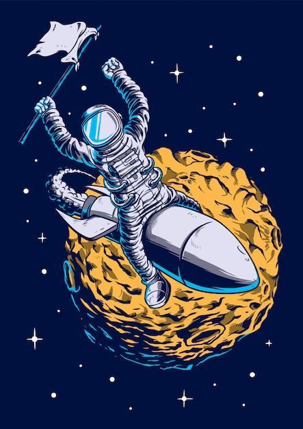 フラグの図を保持している宇宙飛行士 Premiumベクター