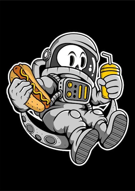 Astronaut hotdog hand drawn illustration Premium Vector