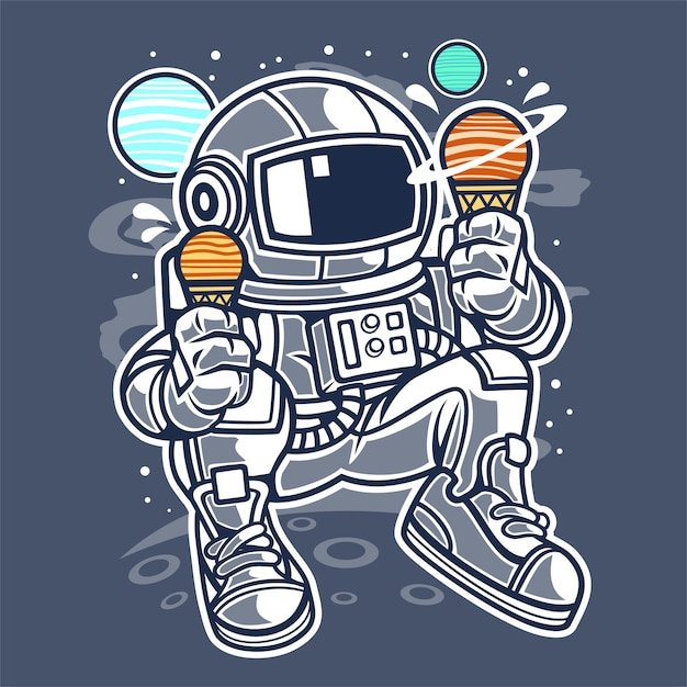 Astronaut Ice Cream Premium Vector