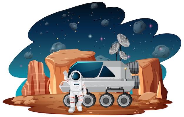 宇宙シーンの宇宙飛行士 無料ベクター