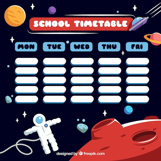Astronaut in the space and school timetable