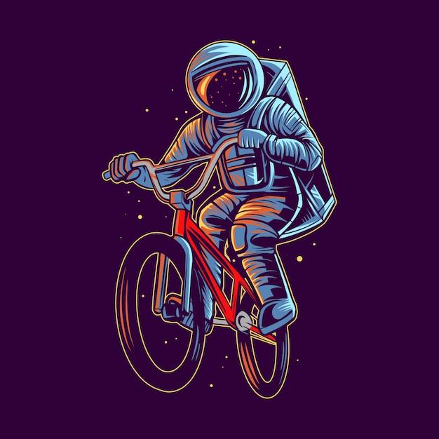 Астронавт прыгает с bmx иллюстрации Premium векторы