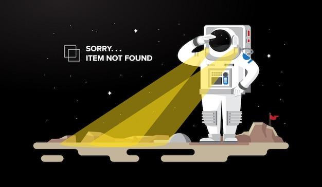 Astronaut looking 404 not found illustration concept Premium Vector