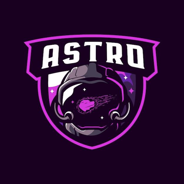 宇宙飛行士のマスコットのロゴ Premiumベクター