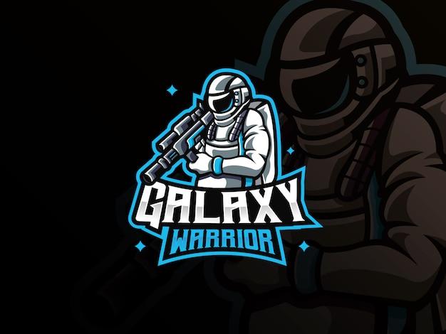 宇宙飛行士のマスコットスポーツのロゴ Premiumベクター