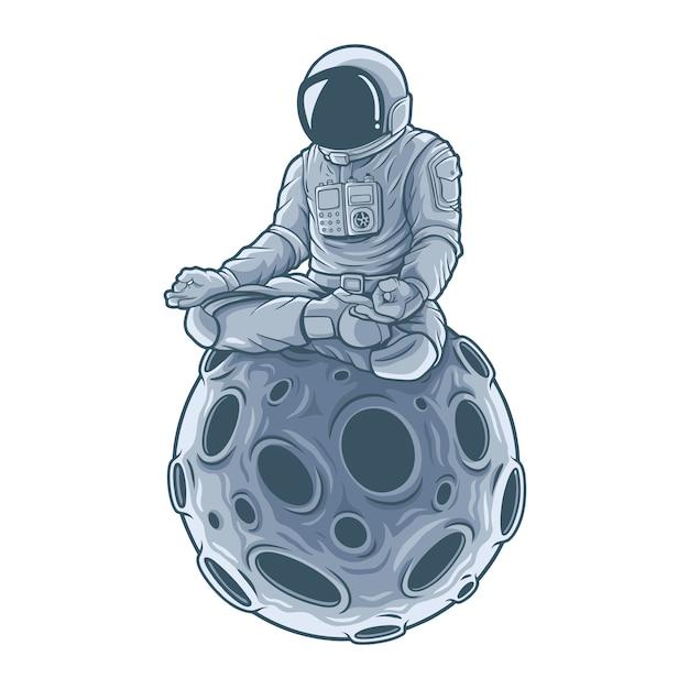 달에 앉아 우주 비행사 명상. . 프리미엄 벡터