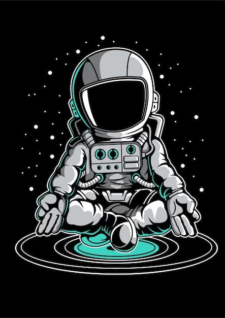 Astronaut meditation Premium Vector