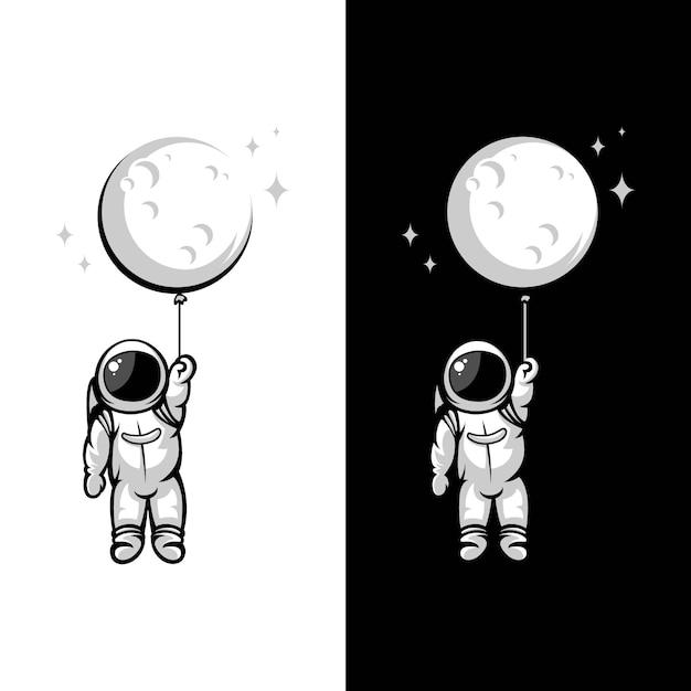 Astronaut moon balloon illustrations Premium Vector