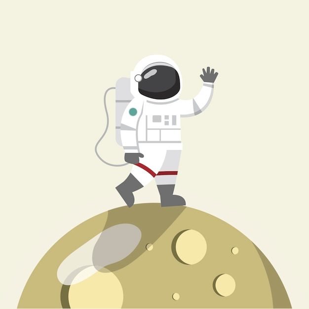 Astronaut on the moon vector Free Vector