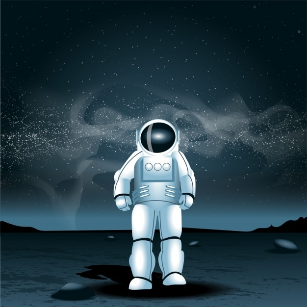 Astronaut on another planet Free Vector