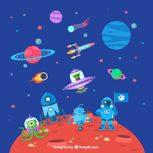 Astronaut on mars Free Vector