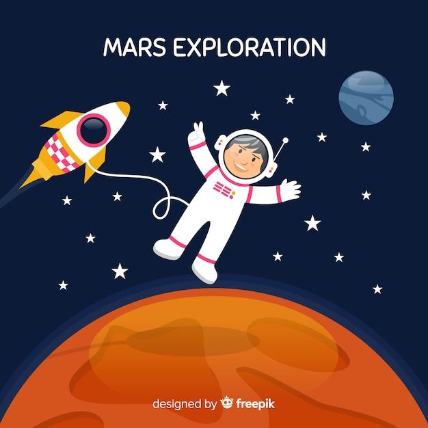 Astronaut on mars Free Vector