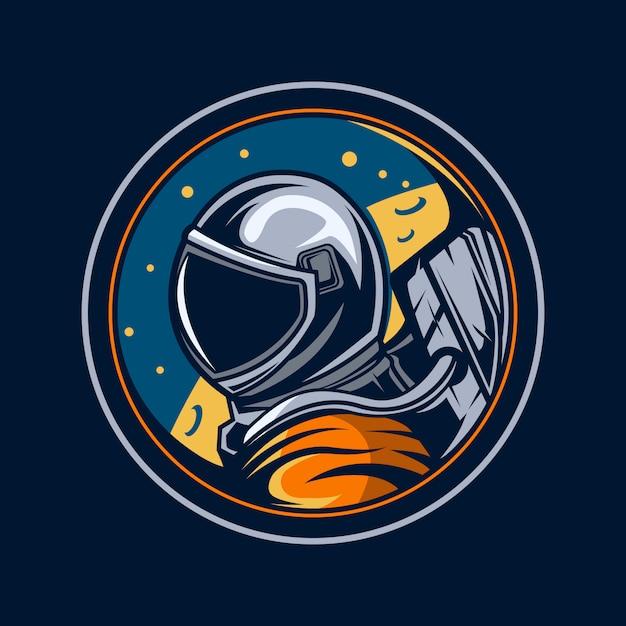 月イラストエンブレムの宇宙飛行士 Premiumベクター