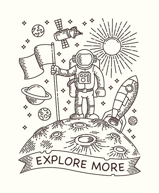 惑星線図の宇宙飛行士 Premiumベクター
