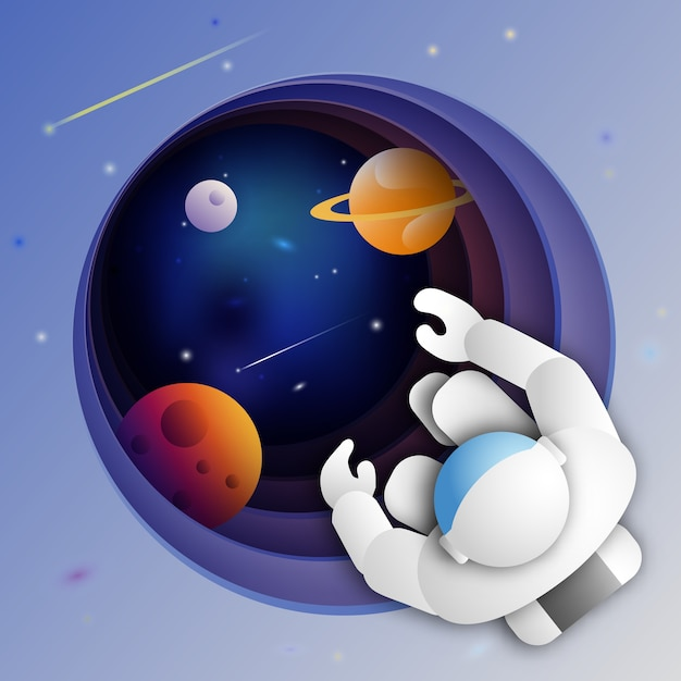 Astronaut in outer space over of the distant deep exoplanet Premium Vector