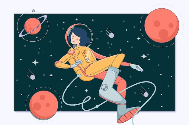 Astronaut in outer space Premium Vector