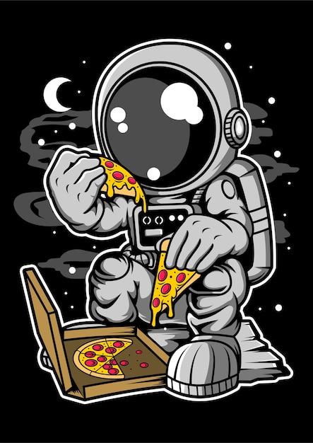 Astronaut pizza cartoon character Premium Vector