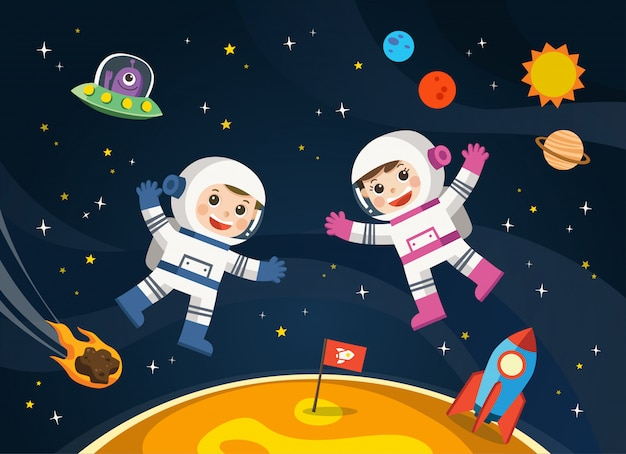 Astronaut  on the planet with a alien spaceship. space scenes. Premium Vector