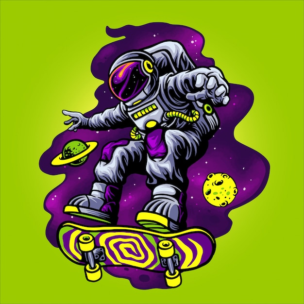 Astronaut playing skateboard in space Premium Vector