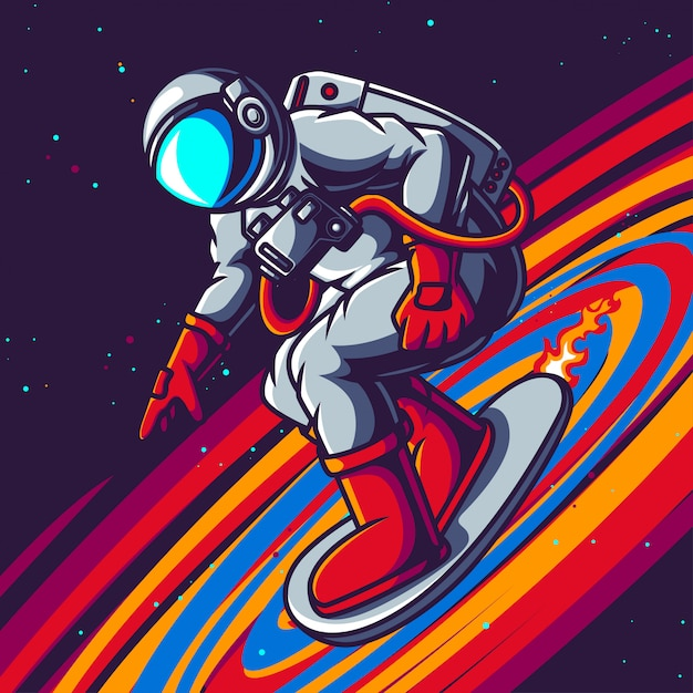 Astronaut playing skateboard on space Premium Vector