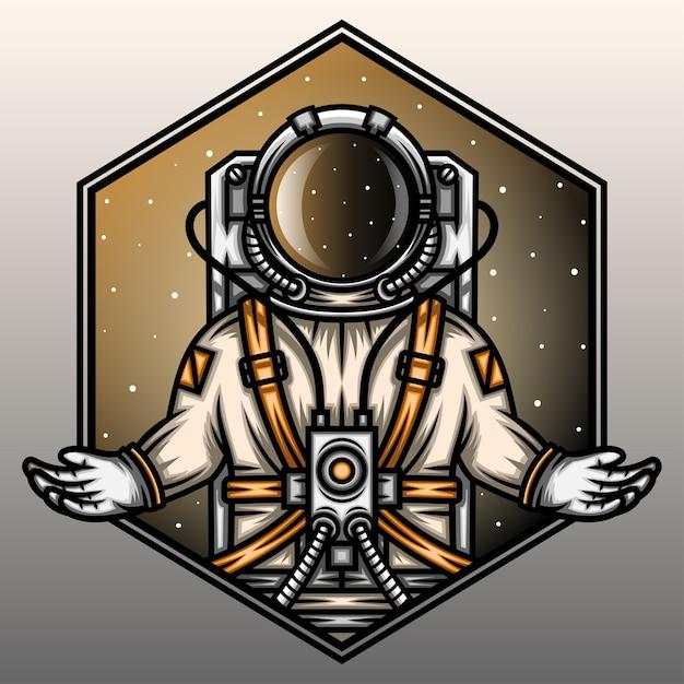 宇宙飛行士は銀河で祈っています。 Premiumベクター